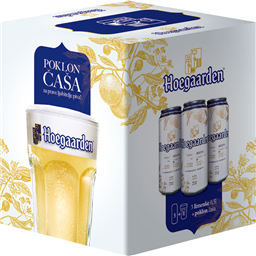 Pivo Hoegarden can 3x0,5l+casa