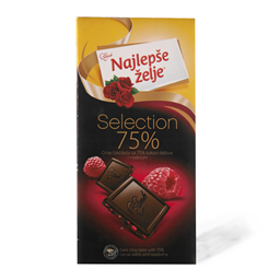 Selection crna 75% malina NZ 75g